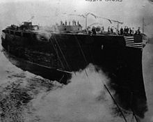 The launching of the battleship Rivadavia, which is lacking many of its main armaments and is just a basic hull