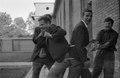 ASC Leiden - NSAG - van Es 1 - 035 - Four laughing Dutch students visiting a courtyard of Khartoum university - Khartoum, Sudan - around 23 - 29-11-1961.tif