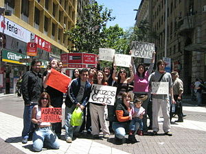 A 'FREE HUGS' group in Chile.