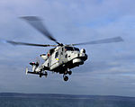A Wildcat helicopter HMA Mk2 of 700(W) Naval Air Squadron conducting flying trials (45158433).jpg