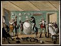 A barber's shop; the central figure is a man seated, swathed Wellcome V0019685.jpg