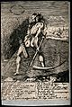 A blindfolded naked man is mowing a field with his scythe; r Wellcome V0047963.jpg