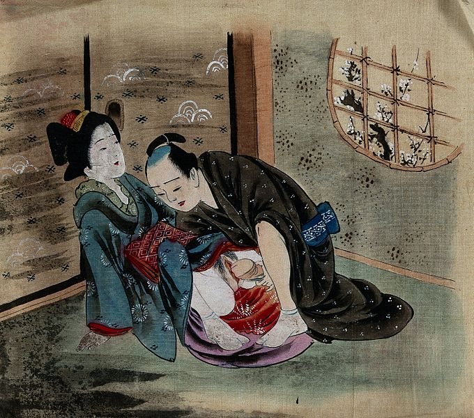 File:A couple making love in a room. Gouache painting. Wellcome V0047304.jpg