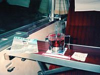 A cup of tea in Odakyu Romancecar.jpg