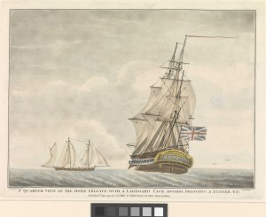 A quarter view of the Hebe frigate, with a larboard tack aboard, bringing a lugger to RMG PW7969.tiff