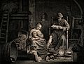 A woman feeding her baby whilst her husband reads a book in Wellcome V0015051.jpg