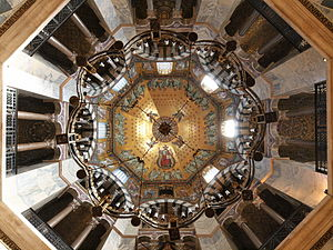 Aachen Cathedral - The Barbarossa chandelier under the dome of the Octagon
