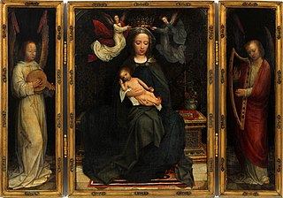 Triptych Madonna Enthroned with music-making angels