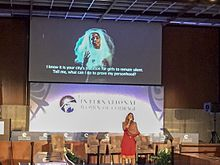 Afghan rapper Ms. Sonita Alizadeh performs at the International Women of Courage forum.jpg