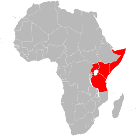 Countries in Africa where the currency is called shilling. African use of the shilling.png