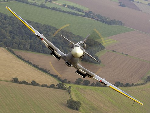 Air to air image of a Spitfire, taken over RAF Coningsby. MOD 45147974.jpg