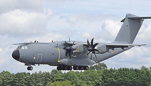 Airbus A400M Atlas of the Spanish Air Force (code EC-400) arrives RIAT Fairford 18July2019 arp