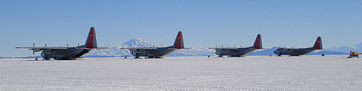 Four US Air Force Hercules aircraft at Williams Field, Antarctica