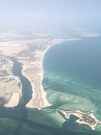 Saadiyat Island - The eastern side of Saadiyat Island, seen from the air