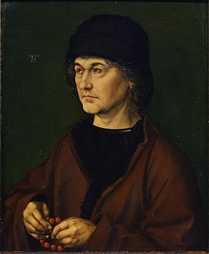 Albrecht Dürer the Elder - Albrecht Dürer the Elder with a Rosary, Albrecht Dürer, early 1490. Oil on oak panel, 47.5 cm × 39.5 cm. Uffizi Gallery, Florence.
