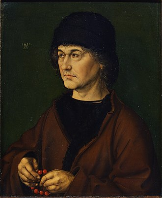 Portrait of Dürer's Father at 70 - Albrecht Dürer the Elder with a Rosary, April 1490. Oil on oak Panel, 47.5 cm x 39.5 cm. Uffizi, Florence.