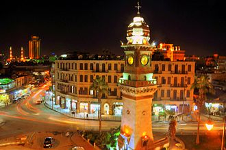 Bab al-Faraj Clock Tower Aleppo Night by Charles Hajj.jpg