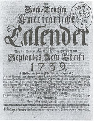 Christoph Sauer - Sauer's first almanac, printed 1739