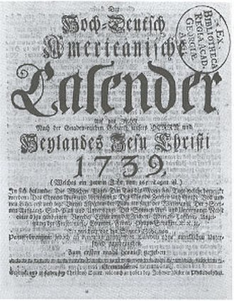 German American journalism -  Front page of Sower's almanac (1739 ed.)