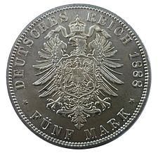 German 5 Mark coin (1888) Alte Ruckseite - Kleiner Adler - Grosses Wappen.jpg