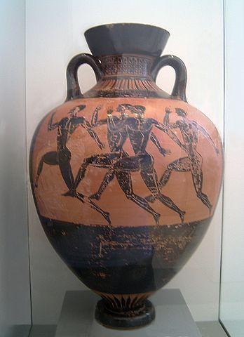 Greek runners on a vase (c. 470 BC) - Greek Diaulos