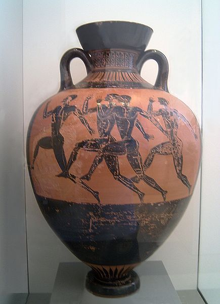Greek Amphora With Painting of Greek Runners