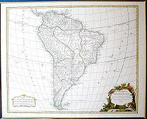 Map of South America in 1750 by Robert de Vaugondy.