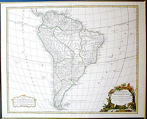 Geography of South America - Map of South America. (1750) Geograph: Robert de Vaugondy.