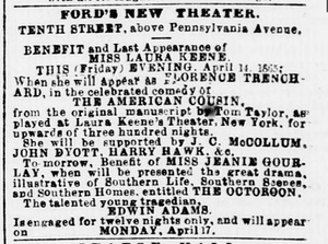 Our American Cousin - Advertisement for Our American Cousin (Washington Evening Star, April 14, 1865)