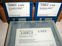 Amiga Unix installation disks and tape cartridge.