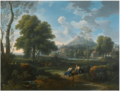 An Italianate landscape with two women conversing with a shepherd, a castle beyond.png