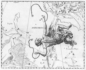 Andromeda (constellation) - Johannes Hevelius's depiction of Andromeda, from the 1690 edition of his Uranographia. As was conventional for celestial atlases of the time, the constellation is a mirror image of modern maps as it was drawn from a perspective outside the celestial sphere.