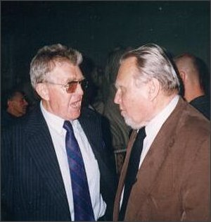 Czesław Miłosz - Czesław Miłosz (right) with brother Andrzej Miłosz at PEN Club World Congress, Warsaw, May 1999