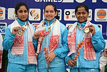 Anjum Moudgil of India won Gold Medal, Elizabeth Susan Koshy of India won Silver Medal and Lajja Goswami of India won Bronze Medal in Women's 50m Rifle Shooting, at the 12th South Asian Games-2016, in Guwahati.jpg