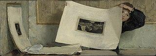 Anna Leafing through a Portfolio of Prints