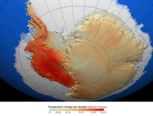 Polar amplification - Temperature trends in West Antarctica (left) have greatly exceeded the global average; East Antarctica less so