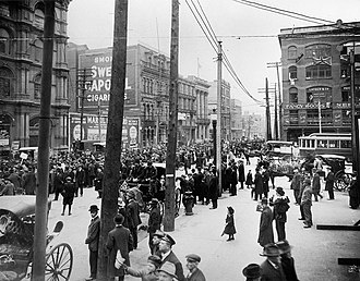 Montreal - An anti-conscription rally in Montreal, 1917. During both World Wars, the city saw protest against the implementation of conscription.