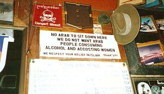 Discrimination - Anti-Arab sign in Pattaya Beach, Thailand