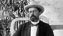 Anton Chekhov with pince-nez, hat and bow-tie.jpg