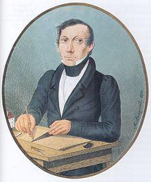 Antonín Langweil na autoportrétu z roku 1830