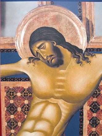 1260s in art - Image: Arezzo Chiesa di san Domenico Crocifisso di Cimabue closeup