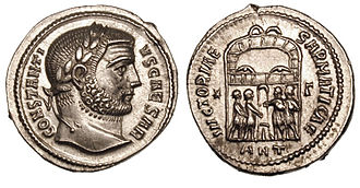 Constantius Chlorus - On the reverse of this argenteus struck in Antioch under Constantius Chlorus, the tetrarchs are sacrificing to celebrate a victory against the Sarmatians.