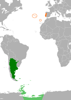 Map indicating locations of Argentina and Portugal
