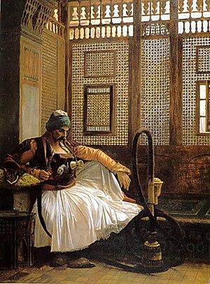 Names of the Albanians and Albania - Arnaut smoking in Cairo — Jean-Léon Gérôme 1865