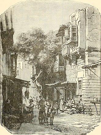 "Mashrabiya - Cairo streetscape showing residential buildings with mashrabiya from Around the world with Philip Phillips, ""the singing pilgrim"" 1887"