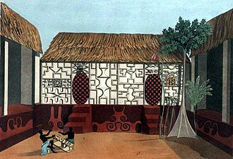 Ashanti Empire - Picture of Ashanti architecture drawn by Thomas Edward Bowdich, with Adinkra symbols on the walls.