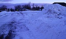 Photograph of a snowbank in Ashland, Wisconsin.