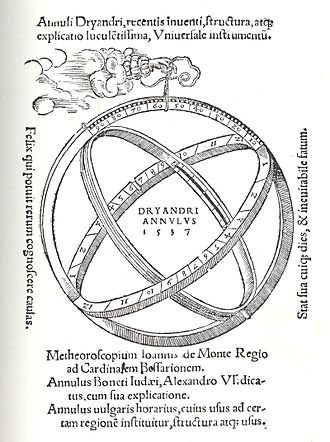 Astronomical rings - Diagram of astronomical rings (Johannes Dryander, Annulorum trium diversi generis..., published Marburg, 1537).