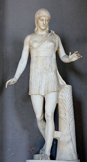 """Pasiteles - So-called """"Atalanta"""": statue of a young girl; the palm branch on the trunk is a symbol of victory. Marble, Greek artwork, 1st century BC (Vatican Inv. 2784)"""