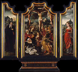 Triptych with Calvary, Saint Anthony the Abbot and Saint Catherine